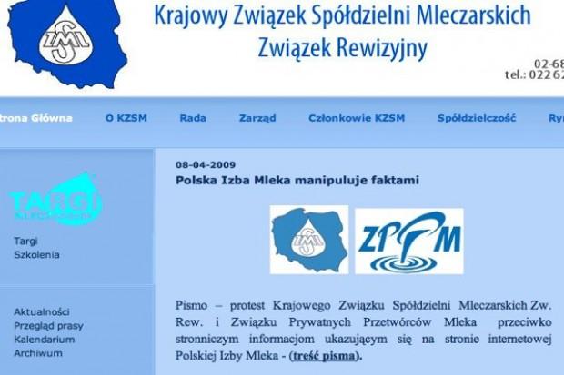 Związki mleczarskie protestują przeciwko informacjom ukazującym się w serwisie Polskiej Izby Mleka