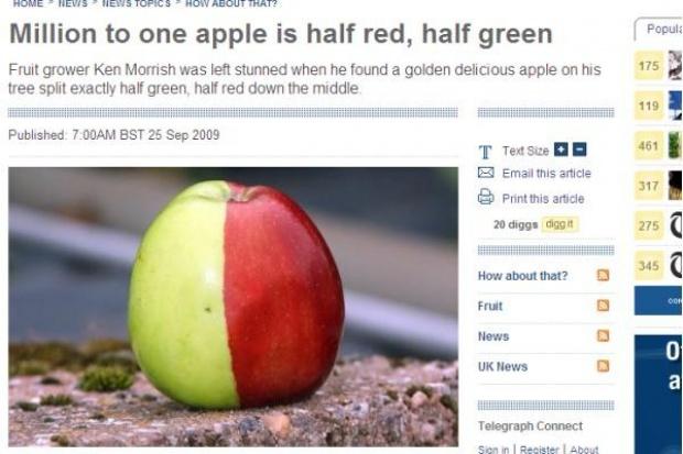 W Wielkiej Brytanii znaleziono wyjątkowe jabłko