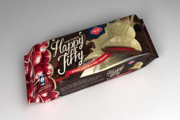 Happy Jiffy - czarne biszkopty z galaretką w białej i deserowej czekoladzie