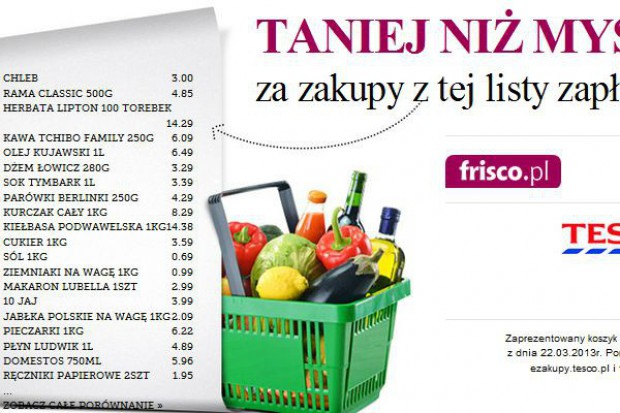 Frisco.pl będzie porównywać swoje ceny z Tesco