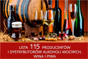 Lista 115 producentów i dystrybutorów alkoholi mocnych, wina i piwa - nowa edycja