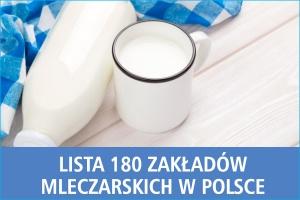 Lista 180 zakładów mleczarskich w Polsce - edycja 2016