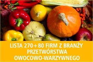 Lista 270+80 firm z branży przetwórstwa owocowo-warzywnego - edycja 2016