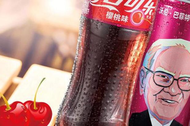 Podobizna Warrena Buffetta na puszkach Cherry Coke w Chinach