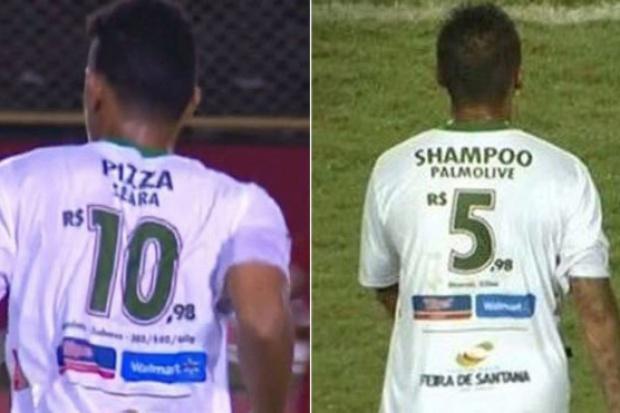 Brazylia: Gazetka reklamowa z cenami żywności na piłkarskich koszulkach