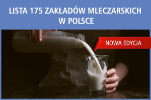 Lista 175 zakładów mleczarskich w Polsce - edycja 2017