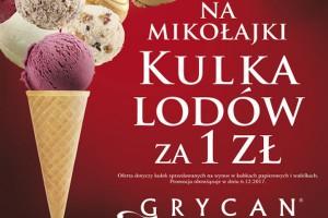 Mikołajkowa kulka lodów za 1 zł w lodziarnio-kawiarniach Grycan-Lody od pokoleń