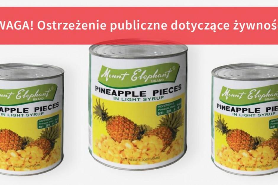 GIS ostrzega, że w ananasach w puszce mogą być fragmenty metalowego drutu