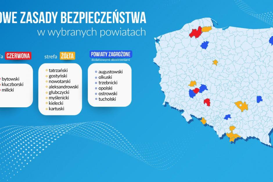 Ministerstwo Zdrowia: w strefie czerwonej 3 powiaty, w żółtej 8 powiatów