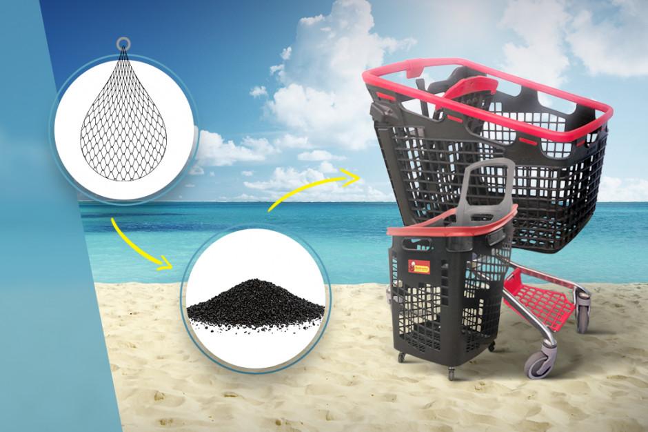 Wózki sklepowe w Biedronce z lin i sieci rybackich